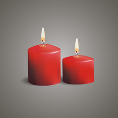 Christmas candle on grey background