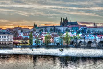 View of Charles bridge over Vltava river and Gradchany (Prague C
