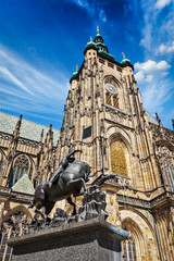 St. Vitus Cathedral and Saint George statue, Prague