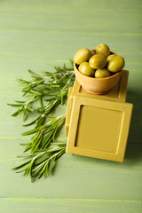Bars of natural soap with rosemary and olive oil