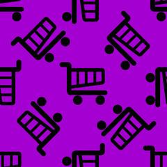 Shopping basket web icon. flat design. Seamless pattern.
