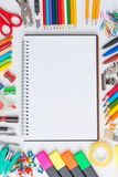 Fototapety Blank notebook with colourful crayons