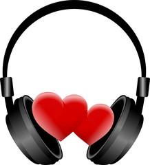 słuchawki i dwa serca