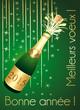 Bonne année 2015 ! Carte de vœux verte et or.
