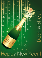Gold and green festive greeting card. Happy New Year !