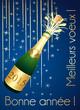 Bonne année 2015 ! Carte de vœux bleue et or.