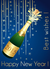 Gold and blue greeting card. Happy New Year !