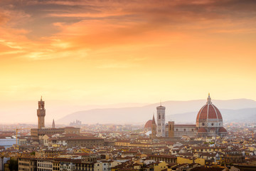 Beautiful sunset over Cathedral of Santa Maria del Fiore (Duomo)