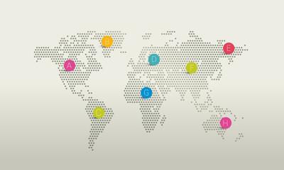 Stylized world map. dot design.