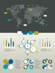 Infographics set. World map and brand elements.