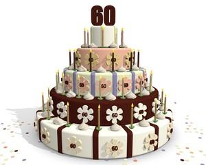 Feestelijk taart - 60 jaar oud