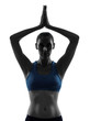 woman exercising yoga hands joined portrait silhouette