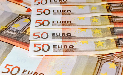Euro banknotes, fifty, close-up