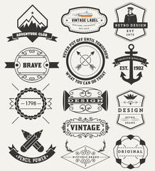 Vintage Insignias / logotypes set. Vector design elements, logos