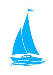 Blue sailboat icon on white background