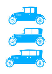 Blue car icons on white background