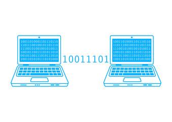 Blue laptop icon on white background
