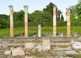 Roman Forum, Roman columns on Aquileia, Italy, UNESCO WH
