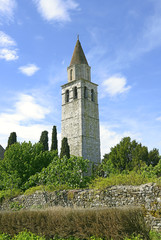 Bell tower at Basilica di Aquileia in Italy, UNESCO WH