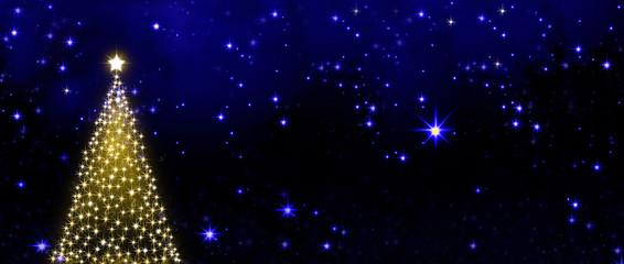 Christmas tree on stars sky background.