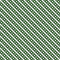 Hunter Green and White Small Polka Dots and Stripes Pattern Repe