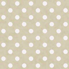 Beige and White Large Polka Dots Pattern Repeat Background