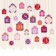 Advent Calendar Hanging Gifts Forest Pink
