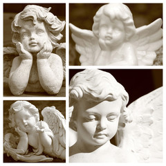 group of images with angelic figurines in sepia color