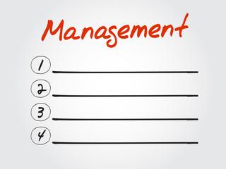 Blank MANAGEMENT list, vector concept background