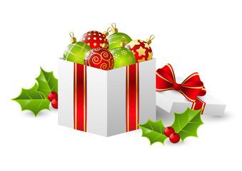 Gift box with Christmas balls