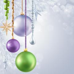 Christmas tree hanging balls illustration, holiday background