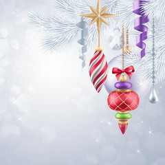Christmas tree hanging ornaments, new year background