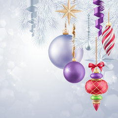 Christmas tree hanging ornaments, holiday background