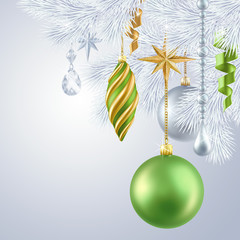 hanging Christmas tree ornaments, new Year background