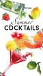Watercolor coctail flyer sex on the beach mojito cosmopolitan - 73731043