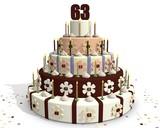 63 jaar oud - verjaardag met taart