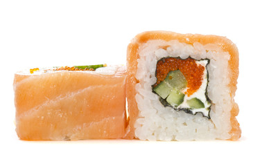 Salmon sushi roll isolated on white background