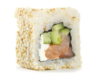 Sushi roll wth sesame isolated on white background