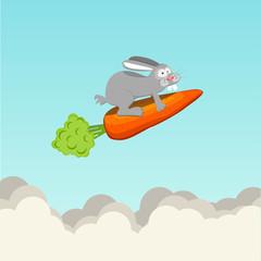 Funny rabbit flying on carrots, vector