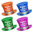 3D rendered collection of colorful Happy New Year top hats - 73732057