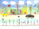 Fototapety Watercolor children drawing kids preschool Walking