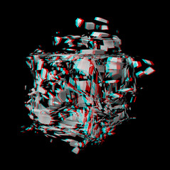 Solid 3D fractal. View anaglyph with red/cyan glasses.