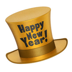 3D render of a golden Happy New Year top hat