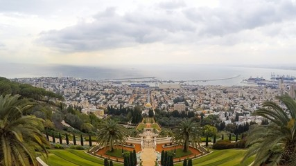 Time lapse of the Bahai Gardens and temple, Haifa, Israel