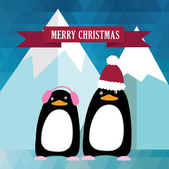 New year and Christmas card with cute penguins