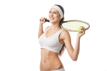 Successful sportswoman with racket Isolated