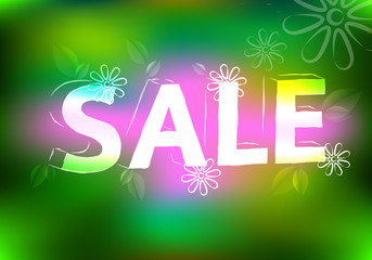Spring-sale-marketing-effect-neon-retro-background