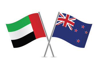 United Arab Emirates and New Zealand flags. Vector illustration.