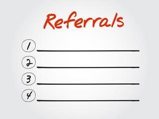 Blank Referrals list, vector concept background