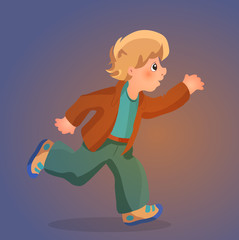 Illustration of a young boy running, vector